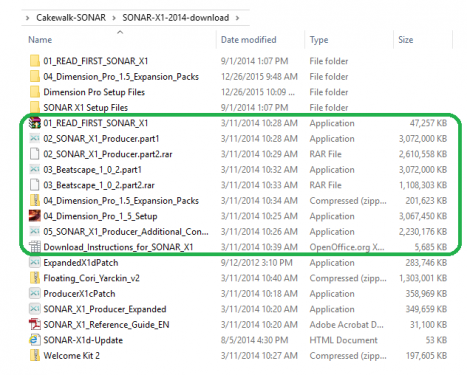 2019-08-11-00 SONAR X1 Download FIles-Installation Files marked.png