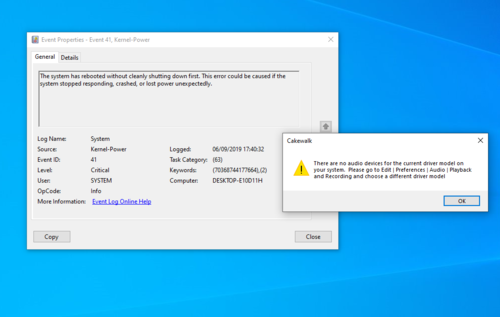 No audio devices and system crash screenshots.PNG