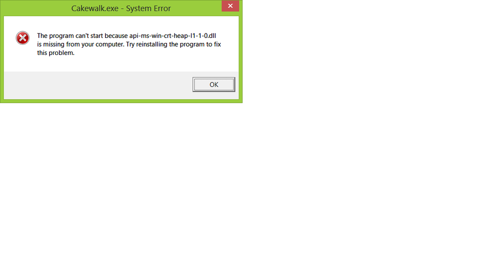 Cakewalk Error Message on Trying to Run Program After Install.png