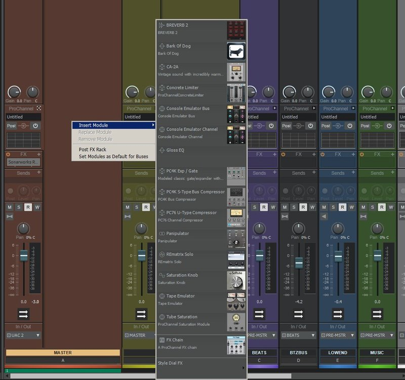 Trying to select a pro channel effect